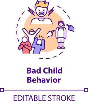 Bad child behavior concept icon