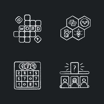 Recreational games chalk white icons set on black background