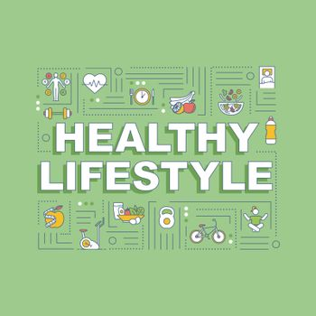 Healthy lifestyle word concepts banner. Conscious nutrition and sport exercises. Infographics with linear icons on green background. Isolated typography. Vector outline RGB color illustration.
