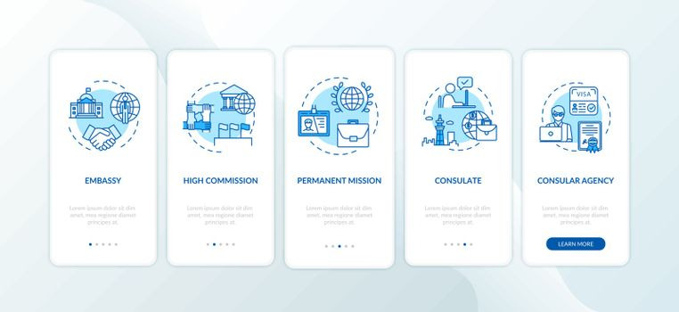 Political cooperation onboarding mobile app page screen with concepts