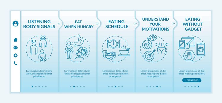 Conscious nutrition rules onboarding vector template. Eat when hungry and listening body signals. Responsive mobile website with icons. Webpage walkthrough step screens. RGB color concept.