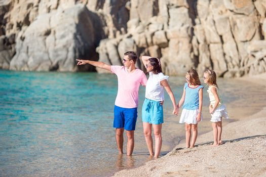 Young beautiful family on vacation in Europe