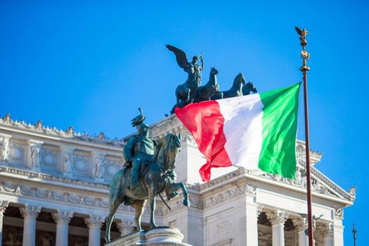 Famous Vittoriano with gigantic equestrian statue of King Vittorio Emanuele II in Rome