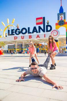Family in Dubai Legoland at Dubai Parks and Resorts,Dubai, United Arab Emirates