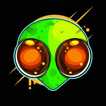 Alien Face With Large Eyes. Extraterrestrial Humanoid Head Vector