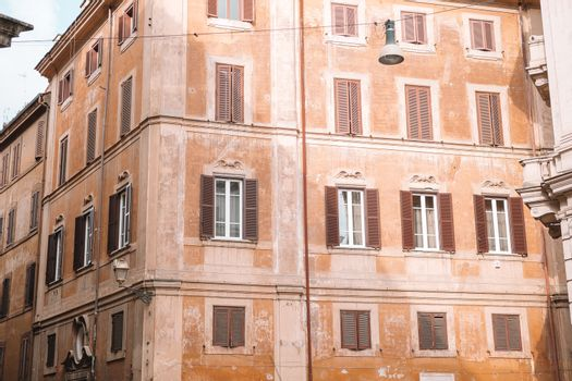 Typical roman old houses in Rome, Italy