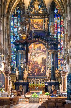 Interior view of Maria am Gestade church in Vienna.