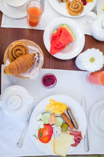 Tasty traditional appetizing yummy breakfast at the restairant