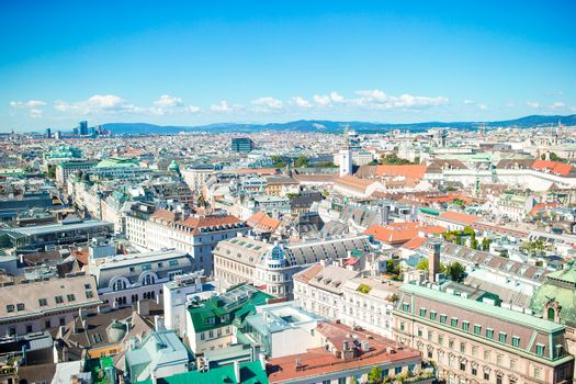 View from St. Stephen's Cathedral over Stephansplatz square in Vienna, capital of Austria on sunny day