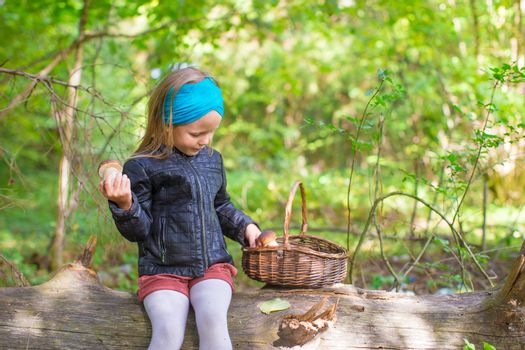 Little girl gathering mushrooms in an autumn forest
