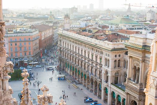 Beautiful view from rooftop of Duomo cathedral, Milan, Italy