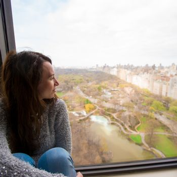 Young girl with view of Central Park