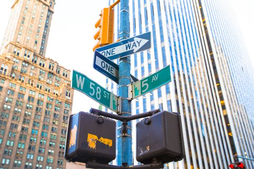 The intersection of 58th street and 5th Avenue in New York City