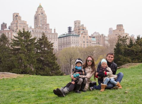 Young of four in Central Park during their vacation