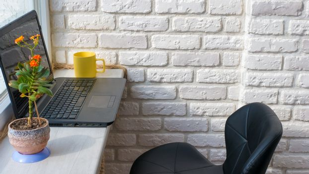 desktop in the apartment laptop black yellow cup and flowerpot
