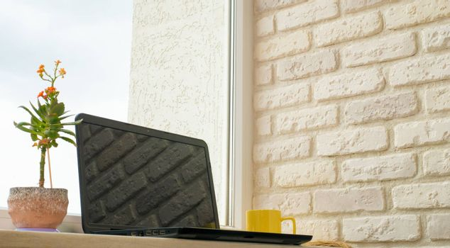 black laptop on the bar in the apartment a yellow cup next to and a flowerpot