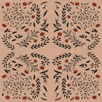 Vector seamless pattern in traditional russian khokhloma style. Seamless pattern background with swans, rowanberry for fabrics, wallpaper, interior, wall-coverings.