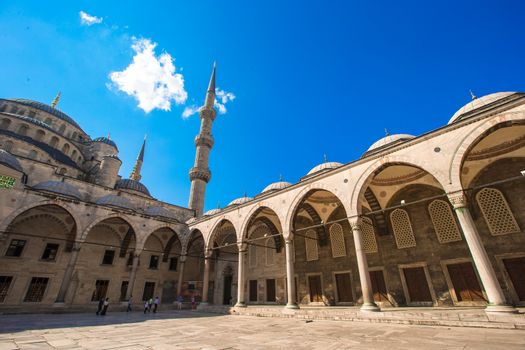 Courtyard of Sultan Ahmed Blue Mosque in Istanbul, Turkey