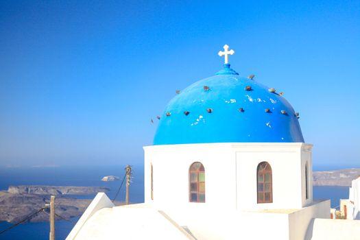 Blue famouse dome church at Firostefani on Santorini island