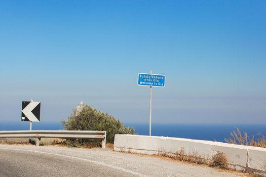 Pointer to the town Oia on Santorini, Greece