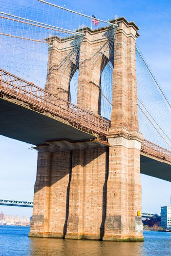 Brooklyn Bridge over East River viewed from New York City