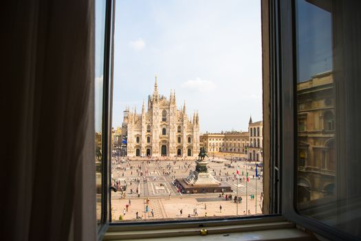 Beautiful view the Duomo cathedral, Milan, Italy