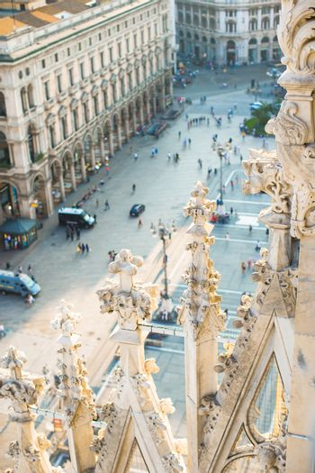 Beautiful view from the rooftop of Duomo cathedral, Milan, Italy
