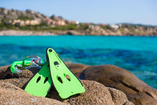 Mask, snorkel and fins for snorkeling at big stones
