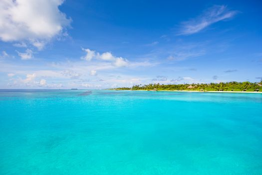 Idyllic tropical beach with white sand and perfect turquoise water