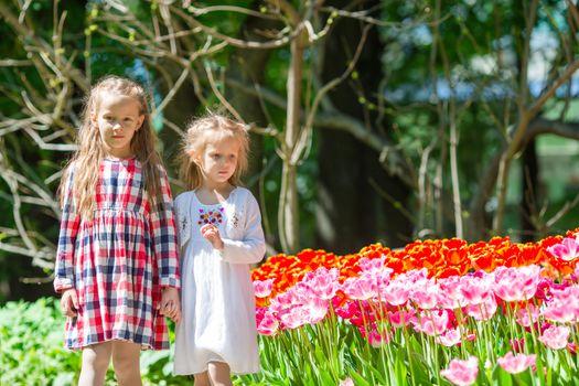 Little adorable girls walking in lush garden of tulips