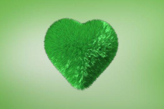 Deep green heart on green background