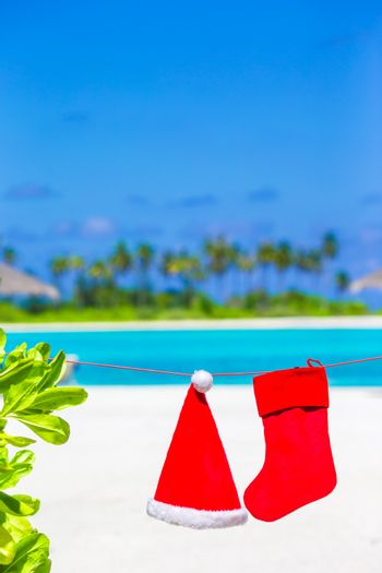 Red Santa hat and Christmas stocking between palm trees