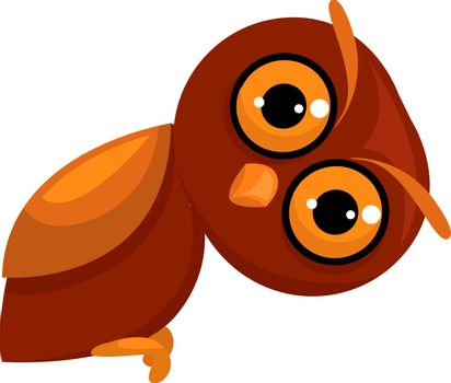 Owl on tree, illustration, vector on white background