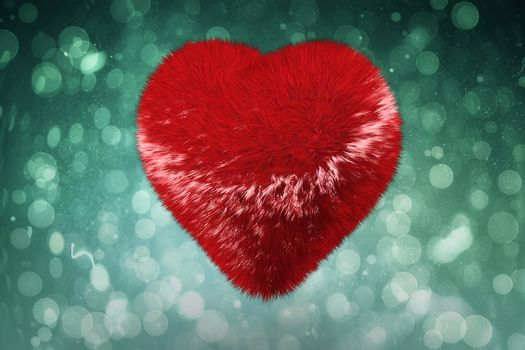 Large fuzzy red heart