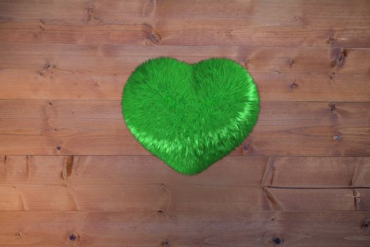 Large green furry heart