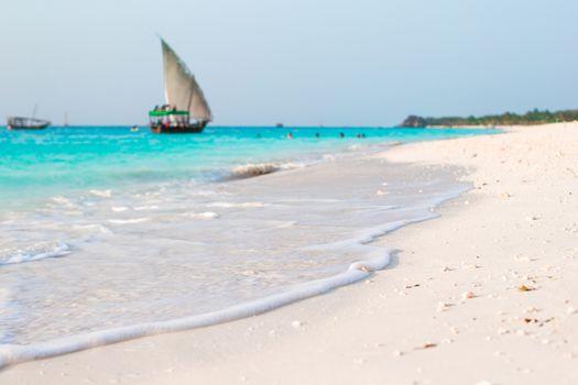 Idyllic perfect turquoise water at exotic island