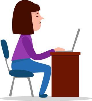 Financier working, illustration, vector on white background