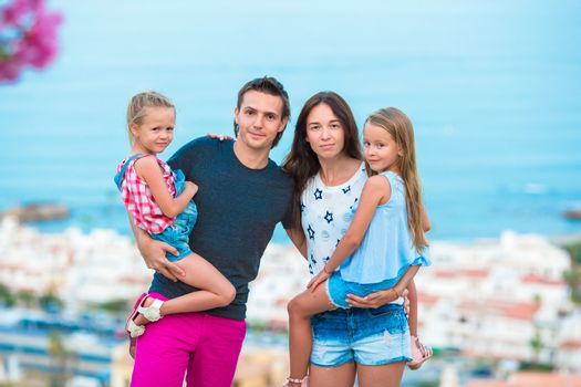 Family on european beach vacation