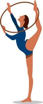 Rhythmic gymnastics, illustration, vector on white background