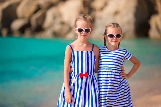 Girls on the beach in european vacation