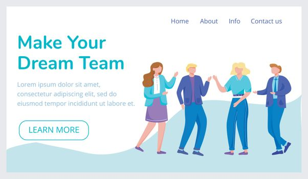 Make your dream team landing page vector template. Recruitment agency website interface idea with flat illustrations. Teambuilding homepage layout. Cooperation web banner, webpage cartoon concept