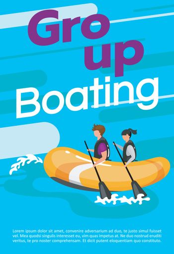 Group boating poster vector template. Extreme watersport. Brochure, cover, booklet page concept design with flat illustrations. Rafting experience. Advertising flyer, leaflet, banner layout idea