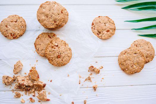 Homemade healthy vegan cookies dessert with oats