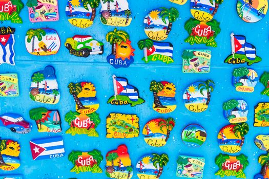 Magnetic board with souvenir magnets of Havana and Cayo Largo island at local market.