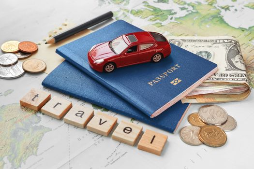 Domestic tourism. Planning road trip across home land with penci