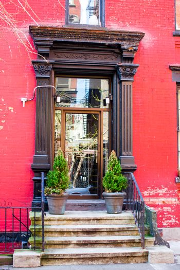 West Village at New York Manhattan. Old red houses in New York city