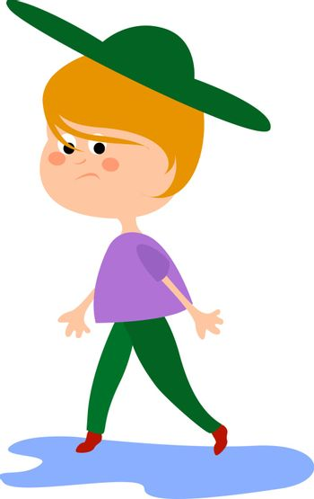 Girl with green hat, illustration, vector on white background.