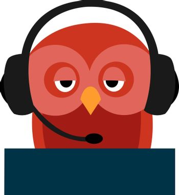 Red owl with headphones, illustration, vector on white background.