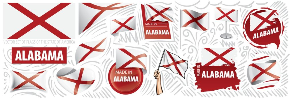 Vector set of flags of the American state of Alabama in different designs.