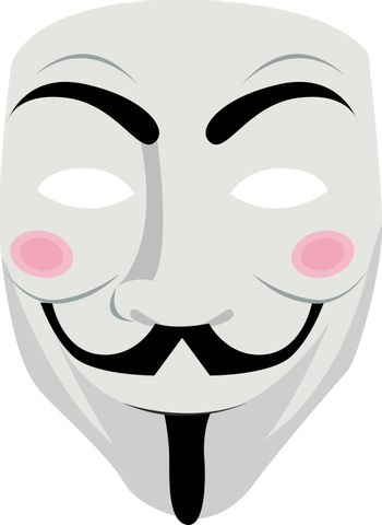 Anonymous mask, illustration, vector on white background.